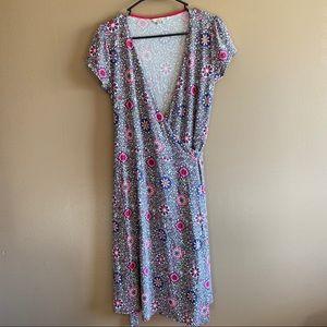 BODEN Summer Floral Wrap V Cut Dress Size 6